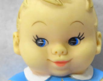 Vintage Uneeda Doll Company Rubber Squeak Noise Baby In Blue Toy Pudgy PeeWee Dated 1968