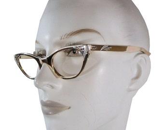 Awesome Metallic Liquid Gold Vintage 50s Cateye Glasses Frames, Cat Eye Eyeglasses by Sherman size 51/2