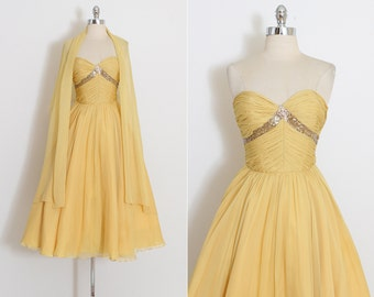 Vintage 50s Dress | 1950s Frank Starr dress | silk crepe chiffon with wrap | xs | 3752