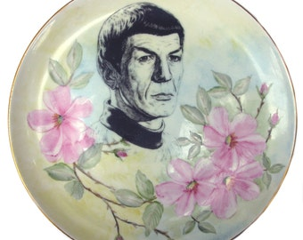 Spock Portrait Plate -  Altered Antique Plate 8.15""