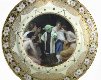 """Yoda and the Nymphs Portrait Plate  - Altered Vintage Plate 10"""""""