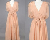 1970s Gown, Vintage 70s Chiffon Maxi Dress, Bohemian Dress, Miss Elliette Grecian Dress, Salmon Pink Medium
