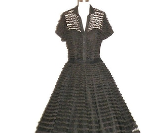 SALE 50s Dress, 1950s Prom Dress, Rockabilly Dress, 1950s Full Skirt, Black Illusion Lace Party Dress, Small