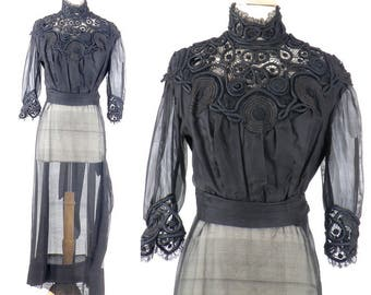 Antique 1910s Edwardian Dress, Titanic Dress, Steampunk Dress, Black Cotton Silk Dress