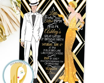 great gatsby birthday party invitation gatsby invitation 1920s invitation black white gold leaf - Gatsby Party Invitation
