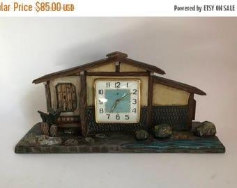 Mid Century 1940u0027s 1950u0027s Japanese Wooden House With Zen Garden Mantle  Clock / Music Box By
