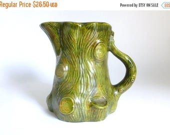 Mid Century Glazed Green Ceramic Woodland Tree Trunk Serving Pitcher