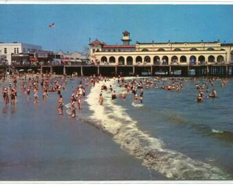 Beach Scene Convention Hall Ocean City New Jersey 1958 postcard