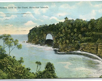 Onomea Arch Bay Big Island Hawaii 1923 postcard