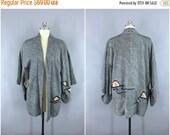 SALE - 1960s Vintage Haori Silk Kimono Jacket / 60s Kimono Cardigan / 1960s Kimono Robe / Wedding Kimono Lingerie / Dark Blue Shibori Tie Dy