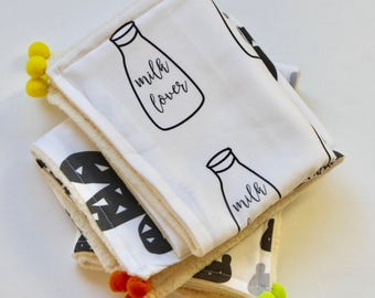 Burp Cloths- Baby Burp Cloths -Baby Boy Burp Clothes-Boy Burp Cloths-Burp Clothes -Monochrome Baby-Baby Gifts for Boys -Baby Gifts For Girls