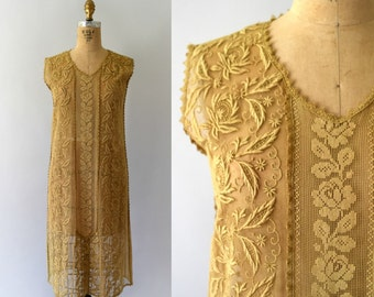 1920s Vintage Dress - 20s Tea Stained Tambour Lace Flapper Dress