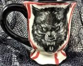 Handpainted Ceramic Creepy Warewolf Mug