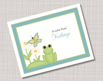 Custom Frog & Butterfly Name Note Cards