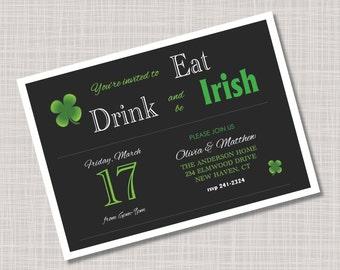 Custom Shamrock St. Patrick's Day Party Invitations