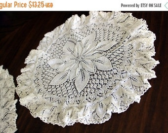 2 Knitted Doilies in Off White, Vintage Knit Doily - Circular and Oval  13737