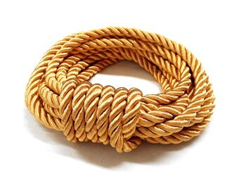 5mm Gold Satin Twisted Cord, Wrapped Thread Cord, Rope Cord - 2 Yards/ 1,84m approx.(1 piece)