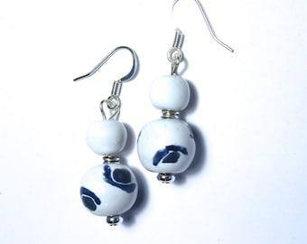 Kazuri Earrings, White and Blue Ceramic Earrings