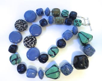 Kazuri Bead Necklace, Fair Trade Beads, Ceramic Necklace, Cornflower Blue and Teal Green