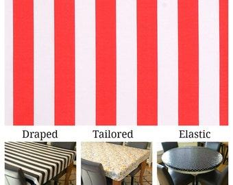 Indoor/Outdoor tablecloth custom size and fit choose elastic, tailored, or draped, Calypso stripe