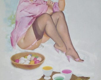 Fritz Willis Pin Up Girl Illustration 1962 Calendar Page, April 1962, Lady in Pink Coloring Easter Eggs  From A Wood Bowl, Sexy Lady