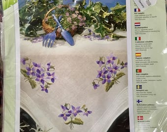 Modell embroidery tablecloth kit NIP violets flowers