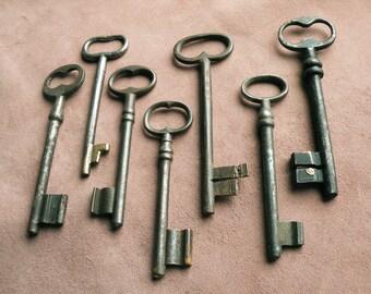 sale - large antique gate keys - rare old ornate french skeleton keys - 7 antique skeleton keys (T-2).