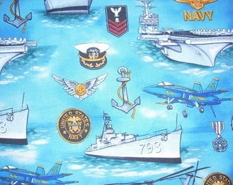 United States Navy -  Cotton Fabric - 14 1/2 inches wide and sold by the yard