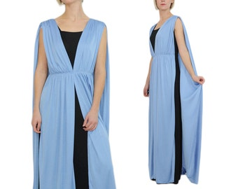 Cape Dress Draped 70s Evening Gown / S / M / Light Blue & Black Goddess Evening Dress with Cape