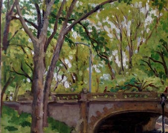 From Central Park near Columbus Circle, NYC. 11x14 Original Oil Painting on Panel, Impressionist Fine Art, New York City Realist Cityscape
