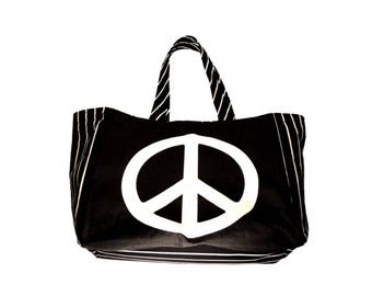 Large Black and White Peace Tote