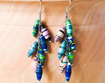 Paper Bead Earrings - Fair Trade Ethical Earrings - African Jewellery - Recycled Earrings - Colourful Earrings - Sterling Silver - Ugandan