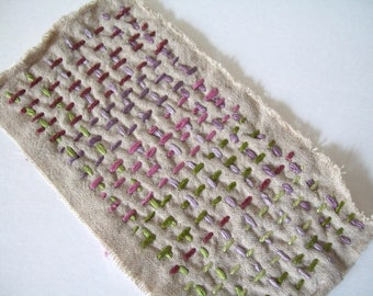 BORO Slow Stitch Patch on Natural Linen, Plums & Greens