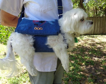 """Denim Pet Sling Carrier """"I Love My Dog"""" READY TO SHIP"""