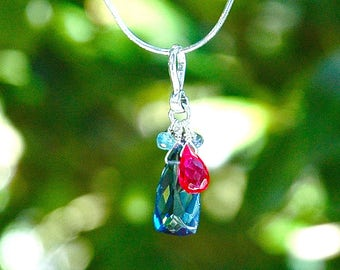 NEW Blue Quartz Pyramid Necklace / Sterling Silver / Multi Color / Aquamarine / Red / Purple / Teardrop Pendant / Mothers Day Gift / OOAK