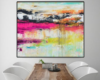 Abstract Painting, Pink Blue Painting, Large Abstract Painting, Pink Blue Print, Fine Art Print, Pink Abstract, large print, pink blue art