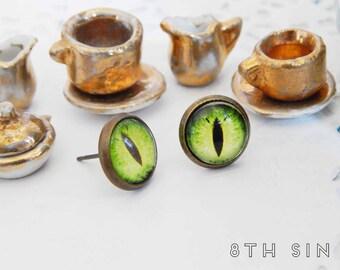 Antique Bronze and Green Dragon Eye Stud Earrings, Green Dragon Eye Earrings, Bronze Dragon Eye Earrings, Emerald Dragon Eye Earrings