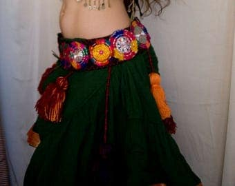Reds and Orange ATS Medallion Tassel Belt - ATS Belly dance, American Tribal Style Bellydance Corset belt