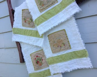 HANDMADE RAGGY TOWELS,  Raggy Tea Dyed Summer Patches, 4 Available, Kitchen Towels , Cottage Chic, Farmhouse Decor, Hostess Gift, 12.5 x 27