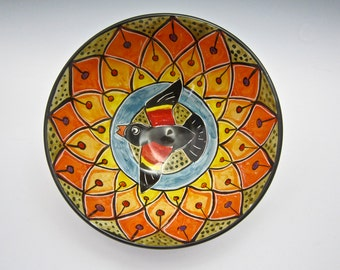 Large Ceramic Serving Bowl - Wedding Gift - Red Wing Black Bird - Mandala Pattern - Pottery Bowl - Clay Majolica Bowl  Middle Eastern Design