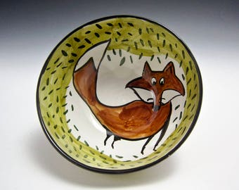 Medium ceramic cereal bowl - brown fox - pottery bowl - clay majolica bowl - olive green - pottery dish - woodland animal - Gift for dad