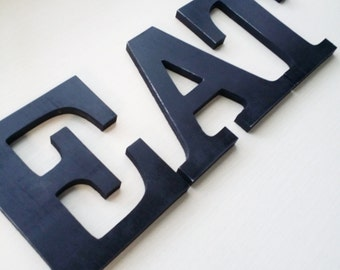 EAT Sign Kitchen Decor, Wooden Letters in Black, Other Colors Available,  6 inch