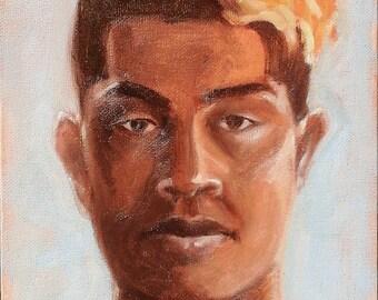 Oil painting portrait by commission small unique original work of art