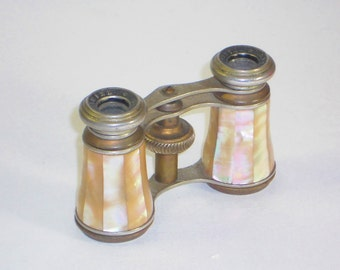 Vintage French Lamier Mother of Pearl Opera Glasses, Binoculars