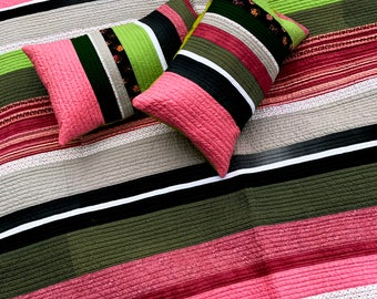 Modern striped quilt with two matching pillow covers