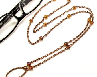 Women's Eyeglass Chain with Iridescent Beads, Beaded Eyeglass Holder, Eyeglass Holder Necklace, Readers, Eyeglass Loop, Gift for HER