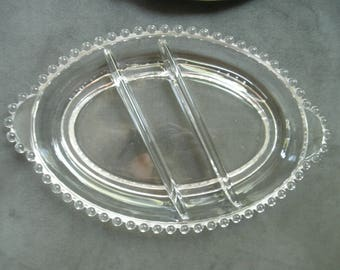 Vintage Candlewick Glass Divided Dish, Oval, 3 Section