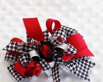 Alabama Hair bow Houndstooth bow korker bow