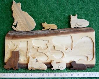 Handmade Wood Cats Puzzle