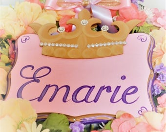 Princess Door Sign for Girls with Crown